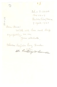 Thumbnail of Letter from W. R. and Glovina Virginia Perry Banks to Shirley and W. E. B. Du Bois