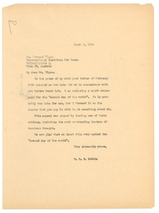 Thumbnail of Letter from W. E. B. Du Bois to International Institute for Peace