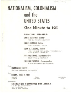 Thumbnail of Nationalism, colonialism, and the United States One minute to 12!