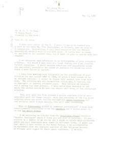Thumbnail of Letter from Paul Partington to W. E. B. Du Bois
