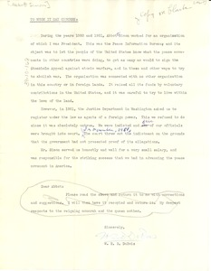 Thumbnail of Letter from W. E. B. Du Bois to unidentified correspondent