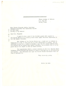 Letter from W. E. B. Du Bois to Campaign Committee for Democratic Rights