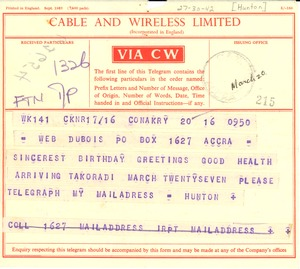 Thumbnail of Telegram from W. Alphaeus Hunton to W. E. B. Du Bois