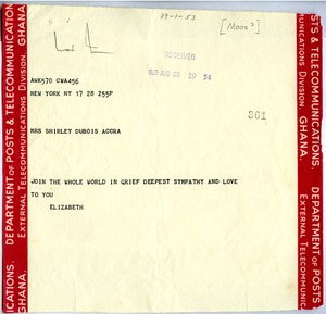 Thumbnail of Telegram from Elizabeth Moos to Shirley Graham