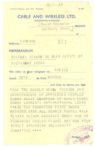 Thumbnail of Telegram from Soviet Afro-Asian Solidarity Committee to Shirley Graham Du Bois