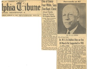 Thumbnail of Life of irony ends Dr. W. E. B. Du Bois dies on eve of march he suggested in 1903
