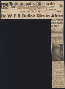 Thumbnail of Dr. W. E. B. Du Bois dies in Africa N.A.A.C.P. founder, author succumbs at age 95