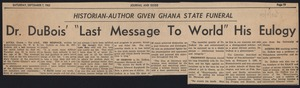 Thumbnail of Dr. Du Bois' 'last message to world' his eulogy Historian-author given Ghana state funeral