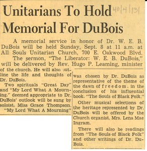 Thumbnail of Unitarians to hold memorial for DuBois