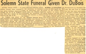 Thumbnail of Solemn state funeral given Dr. DuBois