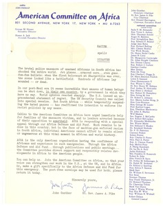 Thumbnail of Circular letter from American Committee on Africa to W. E. B. Du Bois