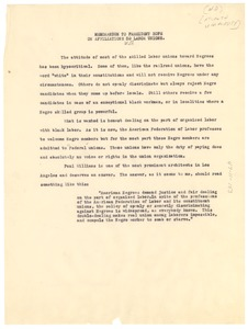 Thumbnail of Memorandum from W. E. B. Du Bois to President Hope on affiliations with labor unions