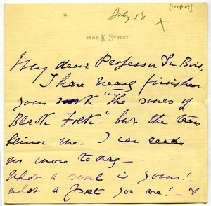Thumbnail of Note from J. G. Cooper to W. E. B. Du Bois