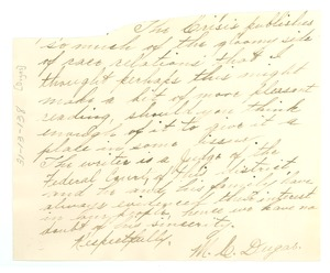 Thumbnail of Letter from M. C. Dugas to W. E. B. Du Bois [fragment]
