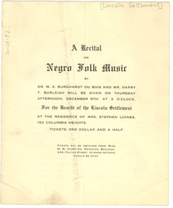 Thumbnail of A  recital on Negro folk music