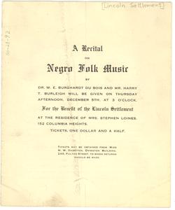 A recital on Negro folk music