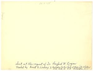 Thumbnail of Sent at the request of Dr. Rayford Logan