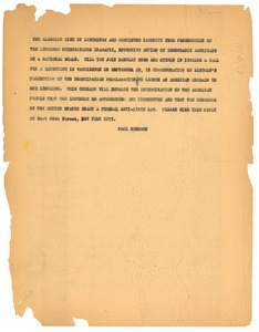 Thumbnail of Circular letter from Paul Robeson to unidentified correspondent