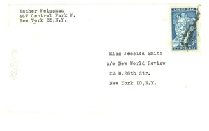 Thumbnail of Envelope from Esther Weissman to Jessica Smith