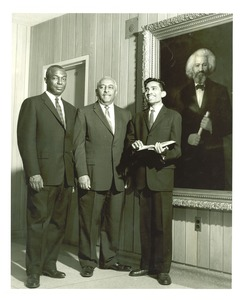 Thumbnail of Stephen J. Wright, Arna Bontemps, Ashakant Nimbark, and portrait of             Frederick Douglass