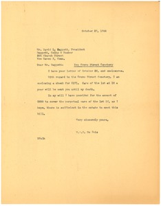 Thumbnail of Letter from W. E. B. Du Bois to New Haven City Burial Ground