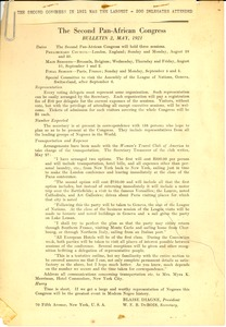 Thumbnail of The  second Pan-African congress, Bulletin 2