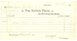 Thumbnail of Receipt from Nation Press to N.A.A.C.P.