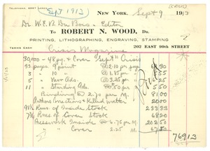 Thumbnail of Invoice from Robert N. Wood to Crisis
