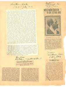 Thumbnail of Various clippings on W. E. B. Du Bois lecture tour
