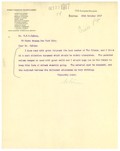 Thumbnail of Letter from Moorfield Storey to W. E. B. Du Bois