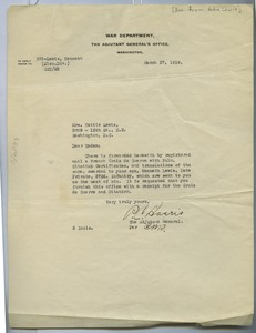 Thumbnail of Letter from United States War Department to Hettie Lewis