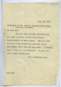 Thumbnail of Letter from W. E. B. Du Bois to Lincoln Daily Star