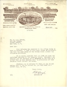 Thumbnail of Letter from National Baptist Publishing Board to W. E. B. Du Bois