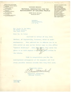 Thumbnail of Letter from N.A.A.C.P. Chicago Branch to W. E. B. Du Bois