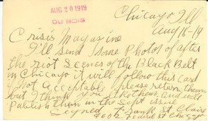 Thumbnail of Postcard from Frank St. Claire to Crisis