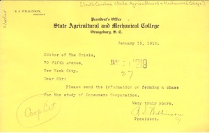 Thumbnail of Letter from South Carolina State Agricultural & Mechanical College to Editor of the Crisis