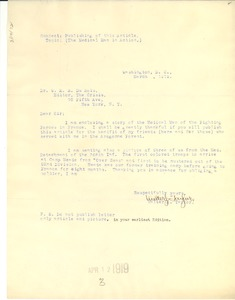 Thumbnail of Letter from Walter J. Taylor to W. E. B. Du Bois