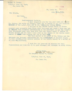 Thumbnail of Letter from Walker W. Thomas to Crisis