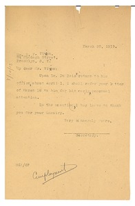 Thumbnail of Letter from Secretary to W. E. B. Du Bois to H. F. Vivian