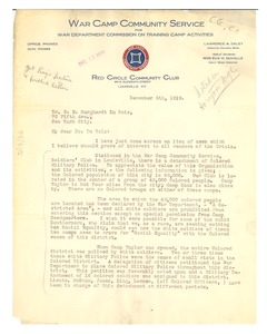 Thumbnail of Letter from War Camp Community Service to W. E. B. Du Bois
