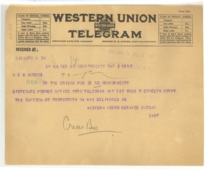 Thumbnail of Telegram from Western Union Telegraph Company to W. E. B. Du Bois