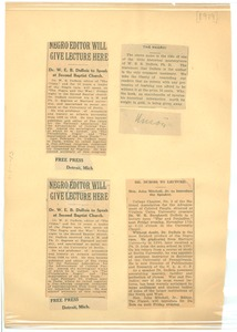 Thumbnail of Negro editor will give lecture here Dr. W. E. B. Du Bois to speak at Second Baptist Church