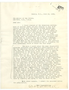Thumbnail of Letter from W. A. Caldwell to Editor of the Crisis