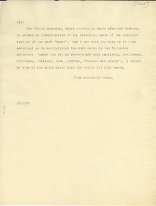 Thumbnail of Circular letter from W. E. B. Du Bois to unidentified correspondent