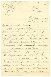 Thumbnail of Letter from Fred DeArmond to the editor of The Crisis