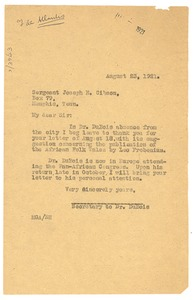 Thumbnail of Letter from Madeline G. Allison to Joseph E. Gibson