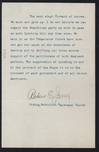 Thumbnail of Letter from Robert E. Jones to unidentified correspondent