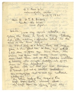 Thumbnail of Letter from James M. Boddy to W. E. B. Du Bois