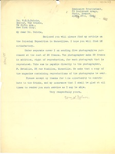 Thumbnail of Letter from William S. Nelson to W. E. B/ Du Bois