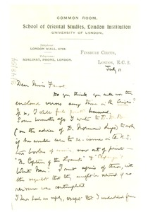 Thumbnail of Letter from A. Werner to Miss Fauset
